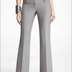 "Light gray express editor pants Light gray express editor pants. Great color for summer! Worn a few times and in great shape. The inseam is short which is 30"". Express Pants Boot Cut & Flare"