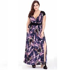 e3f2e1b780 Floral Print Split Side Sleeveless swing Dress Plus Size Long Dresses 2017
