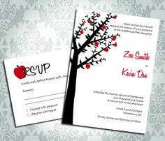 Wedding Invitation - Apple Tree Orchard - Party Invitation and RSVP