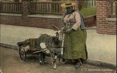 Black Americana Woman Goat Cart c1910