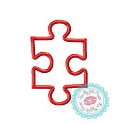 Puzzle Piece Applique Machine Embroidery Design 4x4 5x7