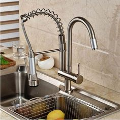 82.11$  Watch now - http://ali579.shopchina.info/go.php?t=32555370224 - Nickel Brushed Kitchen Faucet Swivel Spout Deck Mounted Sink Mixer Tap Single Handle Hole Hot and Cold Water  #magazine