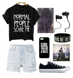 """Please, Don't Talk to Me"" by eilsacat ❤ liked on Polyvore featuring Ksubi, Converse, Casetify and Monster"