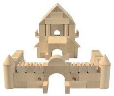 Amazon.com: HABA Medieval Castle Architectural Wooden Building Blocks - 110 Piece Set: Toys & Games