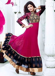 Shilpa shetty pink and golden anarkali dress