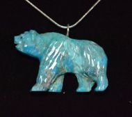 Necklace King man Turquoise Bear Hand Carved Native American Navajo Artist  Howe