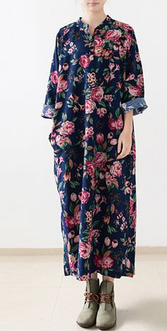 Navy floral linen maxi dress fall cotton dresses long caftans