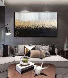 Large Gray and Black wall art,Gold leaf painting,Textured wall art,Oversized canvas art, Wall art ab Oversized Canvas Art, Large Canvas Art, Black Wall Art, Black Walls, Art Above Bed, Extra Large Wall Art, Large Art, Bed Wall, Painted Leaves
