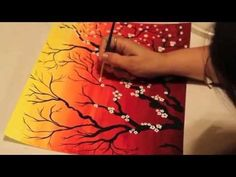 How to paint Cherry Blossom Tree with Acrylic. Textured. Demo. Baum malen mit Acrylfarben by ilonka - YouTube