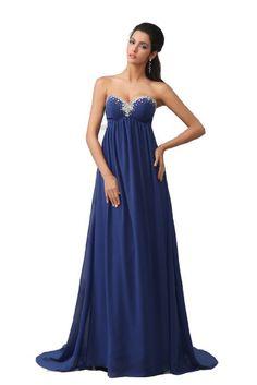 Pregnancy gown - Amazon.com: Winey Bridal Royal Blue Empire Crystal Sweatheart Long Chiffon Evening Dresses: Clothing