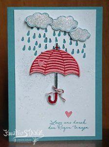 Donnerwetter Stempelset von Stampin' Up! KreativStanz Regen Schirm Regenschirm #umbrella #raining Stampin Up Anleitung, Knitted Afghans, Rain Drops, Stamping Up, Flower Cards, Umbrellas, Stampin Up Cards, Knitting Patterns, Catalog
