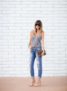 SHOP THIS LOOK: jeans: asos (also loving these and these), tank: alexander wang, shoes: c/o shoemint, bag: clare vivier, friendship cuff: mercedes salazar, watch: marc jacobs, necklace: c/o jewelmint, sunnies: karen walker, bra: cosabella (old), lips: YSL OGBA,  forearm, cuff: jcrew (old)