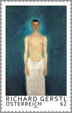 Stamp: Self-portrait as a semi-nude; painting by Richard Gerstl (Austria) (Modern Art) Mi:AT 3083,Yt:AT 2912,ANK:AT 3112