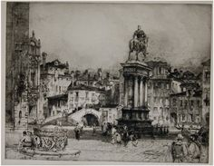 Venice Place Paolo e Giovanni. Hedley Fitton. Etching. 1918