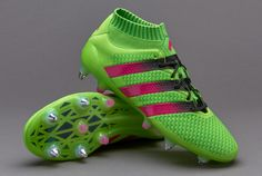 64c4eb4b9b52 Football Boots Adidas Ace 16+ Primeknit SG with Solar Green and Shock Pink  Adidas Football