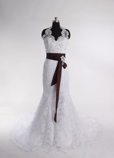 Sleeveless Trumpet Floor-length wedding dress