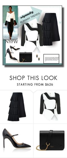 """""""Asymmetry Delight"""" by michelletheaflack ❤ liked on Polyvore featuring Hellessy, Comme des Garçons, Antonio Berardi, Manolo Blahnik, Mulberry, Yves Saint Laurent, NYFW, runwaytrend, PolyvoreNYFW and nyfw2016"""