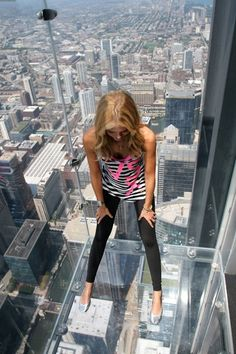 Chicago on the Ledge - Sears Tower  I wonder how many times a day they must clean up that glass floor?  :D