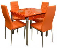 Jídelní set Kent 4+1 rozkládací oranžový – FALCO Moderní nadčasová sklěnená jídelní sestava vhodná do každého interiéru. Tento set se skládá z rozkládacího stolu a čytř židlí. Moderní rozkládací jídelní stůl Kent v barevném provedení … Dining Sets, Dining Chairs, Furniture, Home Decor, Dinner Sets, Decoration Home, Dining Room Furniture, Room Decor, Dinnerware