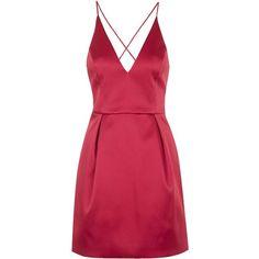 TOPSHOP Plunge Neck Satin Dress ($110) ❤ liked on Polyvore featuring dresses, short dresses, vestidos, red, mini dress, red satin dress, satin dress and satin cocktail dress