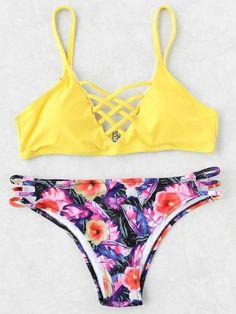 Floral Print Lattice Front Mix & Match Bikini Set