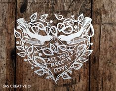 50% Off SALE Papercut Template 'All You Need is LOVE' Valentine's Cut Your Own DIY Downloadable Papercut by Samantha's Papercuts