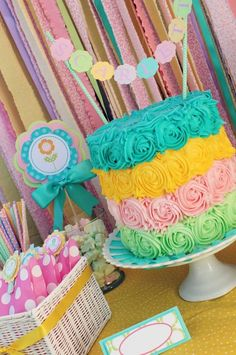 Cute rose frosting cake at a Summer Bliss Party via Kara's Party Ideas   Kara'sPartyIdeas.com