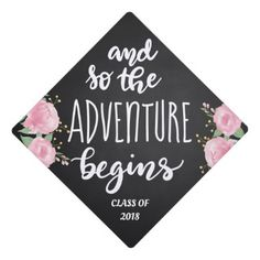 And So The Adventure Begins Handwritten Script Graduation Cap Topper - script gifts template templates diy customize personalize special