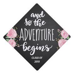 And So The Adventure Begins Handwritten Script Graduation Cap Topper - graduation gifts giftideas idea party celebration
