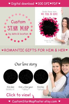 This PRINTABLE custom star map by date & location is excellent PERSONALIZED romantic gift for him and her (sentimental gift for couples)! Please visit our website to select your design and buy it now! Sentimental Gifts For Men, Romantic Gifts For Him, Personalised Gifts For Him, Gifts For Her, Romantic Anniversary, Anniversary Gifts For Him, Star Trek Gifts, Engagement Gifts For Couples, Star Chart
