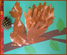 DIY squirrel with handprints for tail Fall Arts And Crafts, Autumn Crafts, Fall Crafts For Kids, Nature Crafts, Diy For Kids, Animal Crafts For Kids, Animal Projects, Toddler Crafts, September Themes