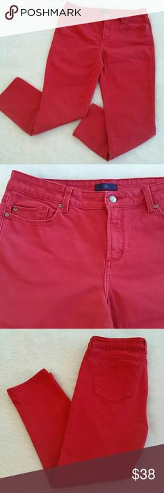 NYDJ JEANS Red NYDJ jeans Lift and Tuck technology Size 10 98% cotton 2% spandex Straight leg, inseam 27 inches In good condition NYDJ Jeans
