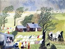 Taking in the Laundry - Grandma Moses