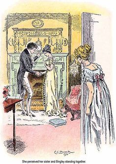 """She perceived her sister and Bingley standing together."" Pride and Prejudice illustration, Jane Austen"