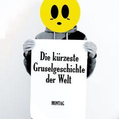 "Digitaldruck mit Typo Print ""Montag die Gruselgeschichte"" / art print typo poster ""creepy monday"" by claus-peter-2 via DaWanda.com"