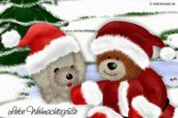 Liebe Weihnachtsgrüße. Animierte Weihnachtskarte mit Djabbi Teddy und einem kleinen Hund
