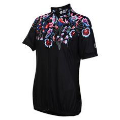 Flower Power   Lasses Floral Short Sleeve Reflective Cycling Jersey £54.99 Sizes UK 8 to 26 #womenscycling #cycling #women #cyclewear #womenscyclingjersey #cyclingjersey #womenscyclewear #cyclingfashion #fatlassattheback #curves #floraljersey #cyclingoutfit #flowerjersey