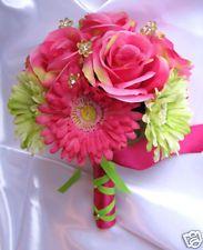 Bridal Bouquet wedding flowers PINK FUCHSIA GREEN DAISY