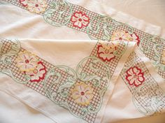 Embroidered border small tablecloth / colorful vintage by HandPycd