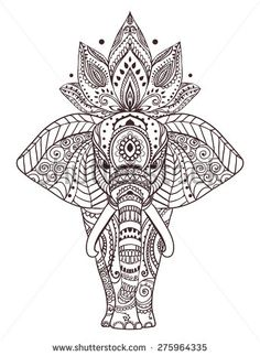 Greeting Beautiful card with Elephant. Frame of peacock made in vector. Perfect cards, or for any other kind of design, birthday and other holiday.Seamless hand drawn map with Elephant.