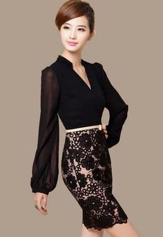 Blouses for Women Elegant Peach Color Blouse and Tops Luxury Lace ...