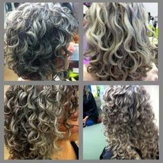 Gray curly  hair