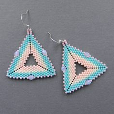 Seed bead earrings - Triangle Peyote Earrings. $16.00, via Etsy.