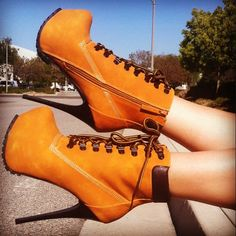 lace up booties #gojane #camo #black #tan #booties #boots #jlo #timbs #laceup #platforms #heel #construction #sexy #leather #hikingboot