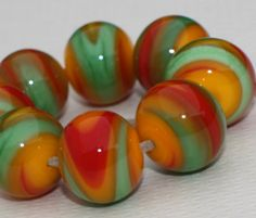 Lampwork Glass Beads Set of 8  16mm x 18 mm  por GlassNatalyaDarlin