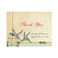 Whimsical Vintage Bird Cage Wedding Thank You Card invitation