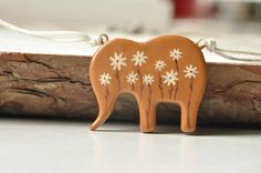 Pendant Elephant Handpainted Brown Beige  Autumn by MagicTwirl, $25.00