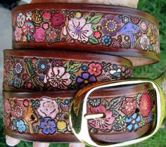 Leather Belt with Mediium Brown Border and Flower by galeatherlady, $98.00
