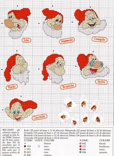 The Seven Dwarfs Cross Stitch Chart - have to find the names in English, but love the idea of making these into ornaments.
