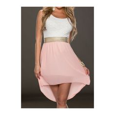 Round Neck Sleeveless Pink High Low Dress ($20) ❤ liked on Polyvore featuring dresses, pink, pink dress, pink sleeveless dress, chiffon sleeve dress, print dress and hi lo dresses